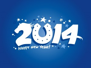 Happy New Year 2014 Blue Wallpaper