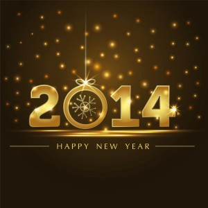 Happy New Year 2014 Gold Background