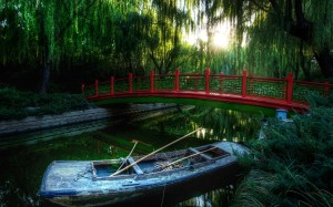 Red Bridge Nature River Wallpaper