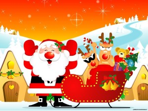 Santa Claus Cartoon BAckground Wallpapers